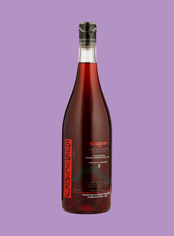 Natural rose wine bottle on purple backdrop