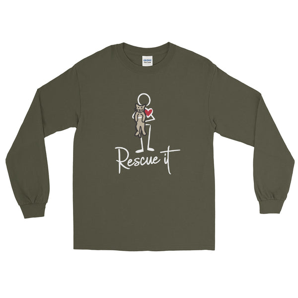 Men's Long Sleeve Rescue It Cat Shirt