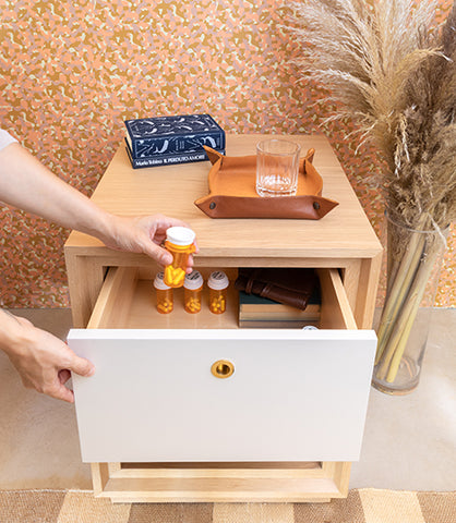 Forti Goods Grace Side Table Nightstand Safely Stores Prescription Medication