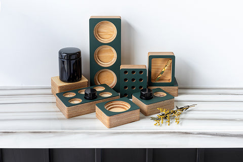 Small batch wood organization accessories for locking drawers