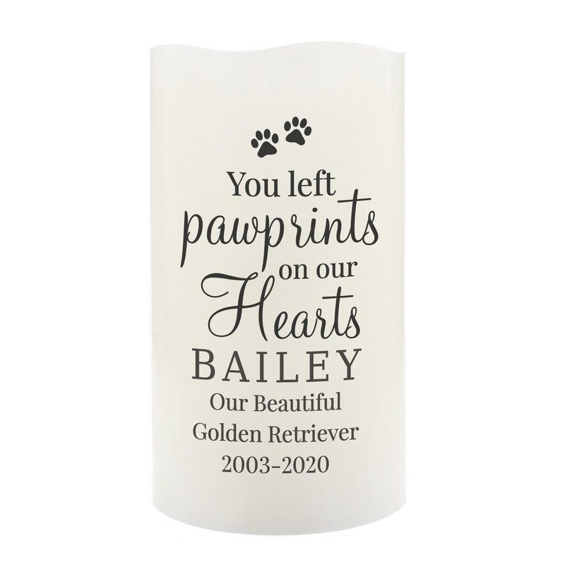 Personalised Pawprints On Our Hearts LED Candle - The Personal Shop