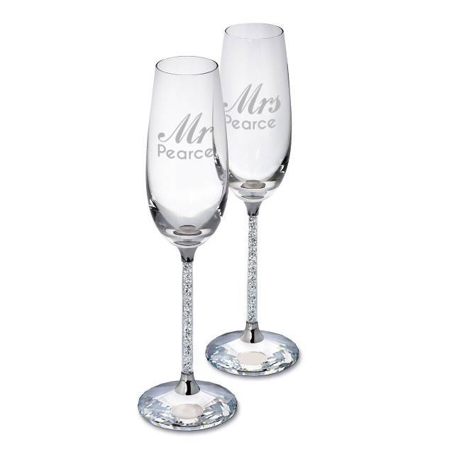 Diamante Stem Filled Champagne Flutes - The Personal Shop