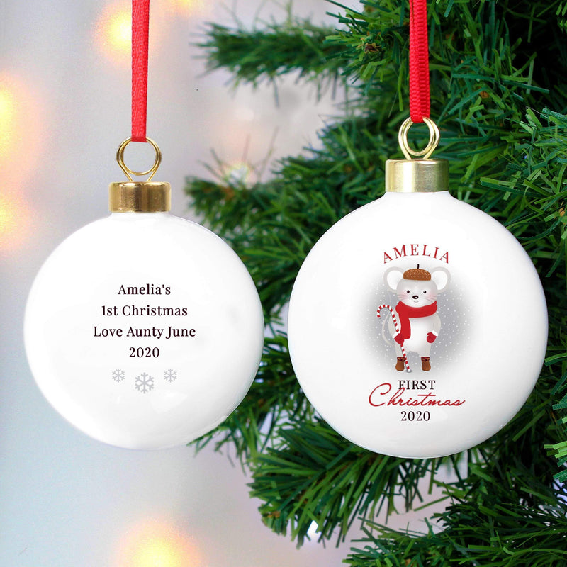 Personalised '1st Christmas' Mouse Bauble - The Personal Shop