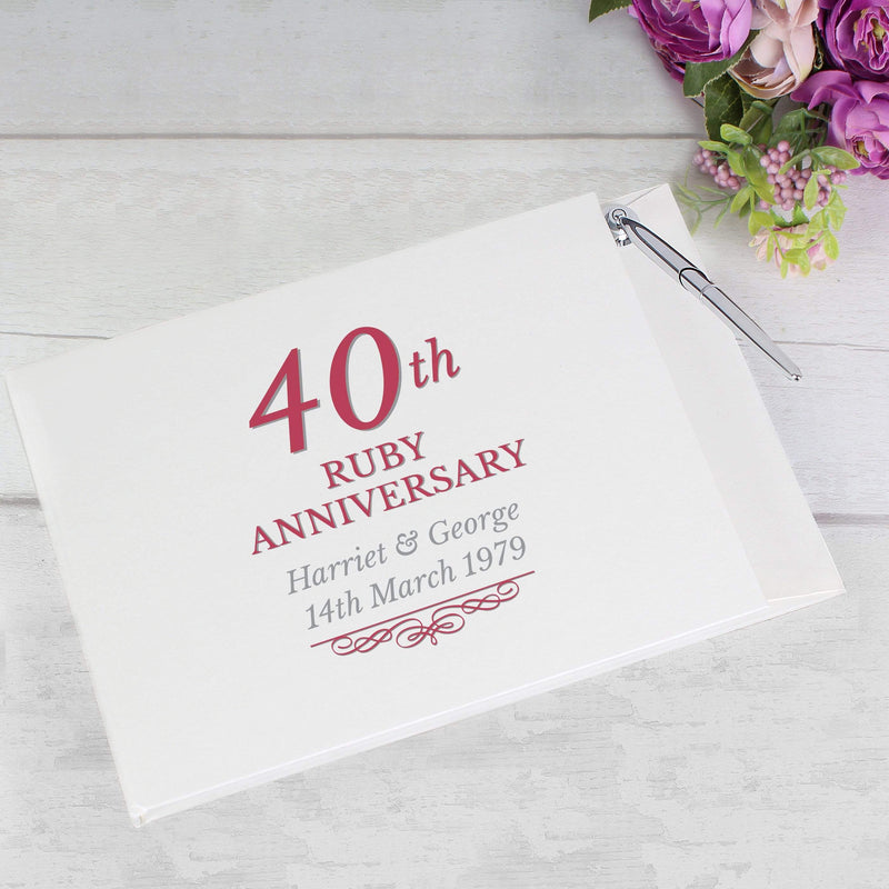Personalised 40th Ruby Anniversary Hardback Guest Book & Pen - The Personal Shop