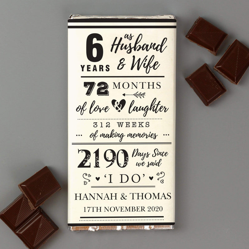 Personalised 6th Anniversary Milk Chocolate Bar - The Personal Shop