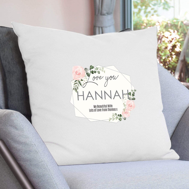 Personalised Abstract Rose Cream Cushion Cover - The Personal Shop