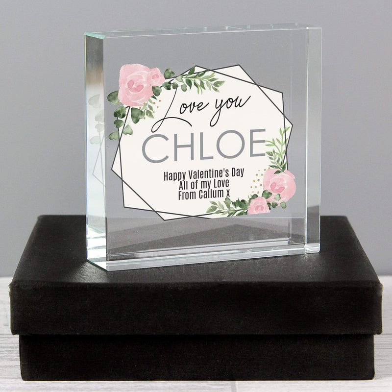 Personalised Abstract Rose Large Crystal Token - The Personal Shop