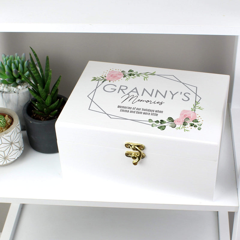Personalised Abstract Rose White Wooden Keepsake Box - The Personal Shop