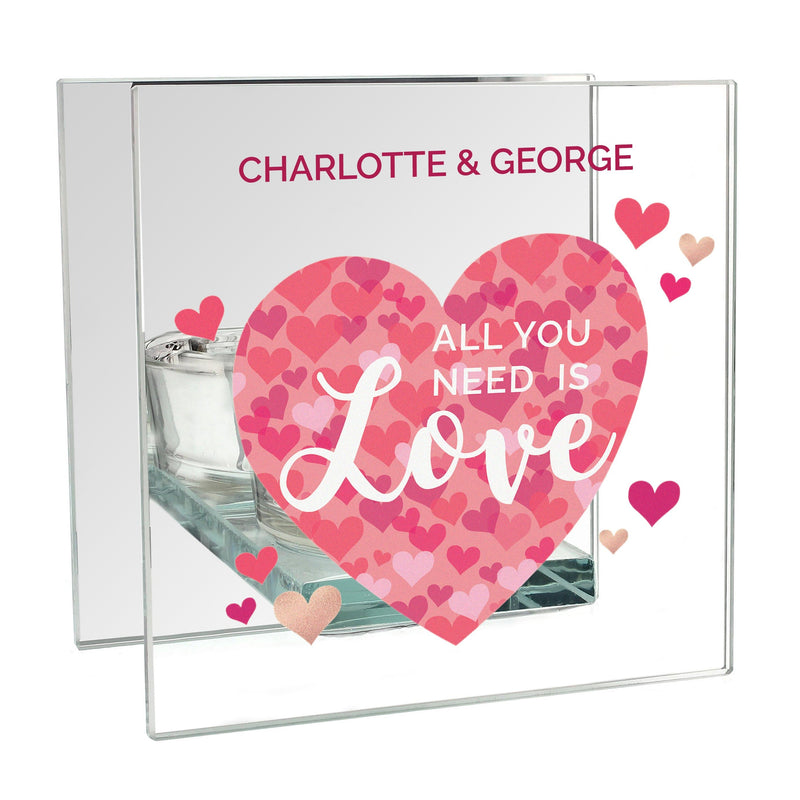Personalised 'All You Need is Love' Confetti Hearts Glass Tea Light Candle Holder - The Personal Shop