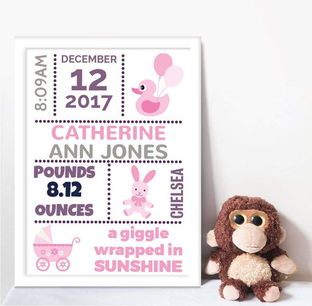Baby Wrapped In Sunshine Print, The Personal Shop, personalised gifts