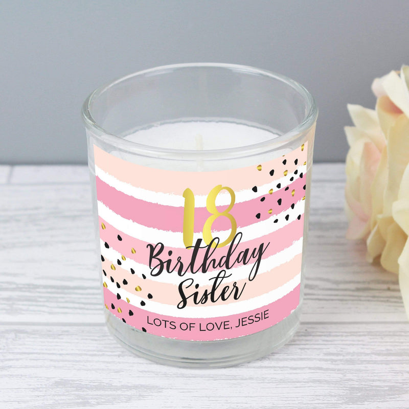 Personalised Birthday Gold and Pink Stripe Scented Jar Candle - The Personal Shop