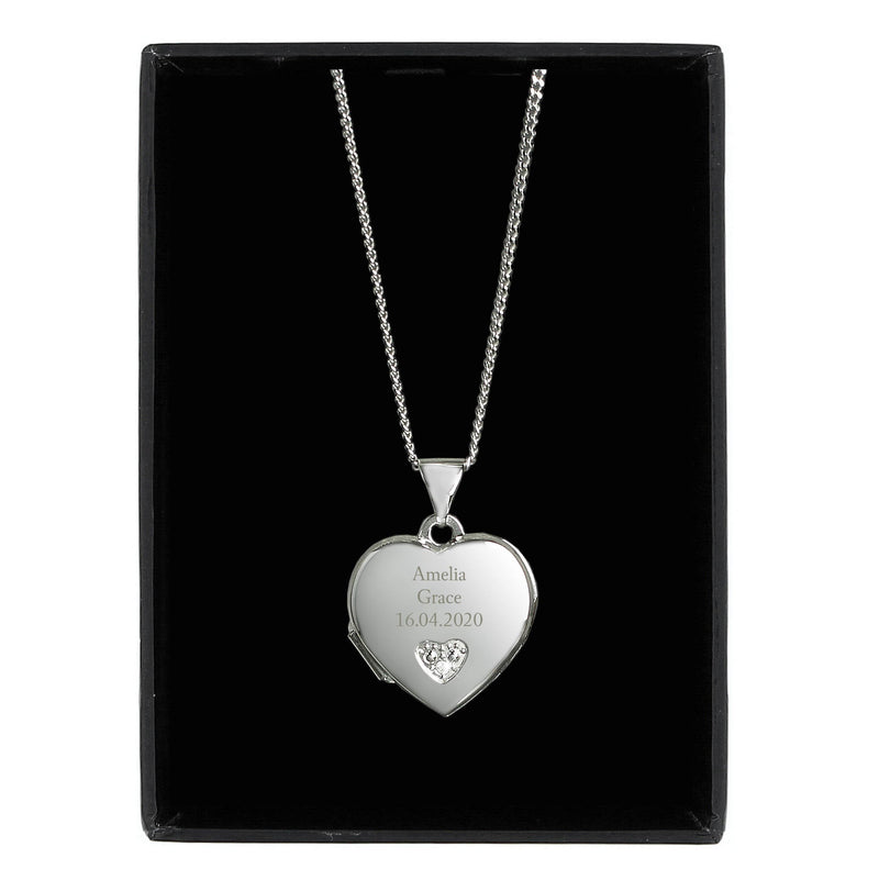 Personalised Children's Sterling Silver and Cubic Zirconia Heart Locket Necklace - The Personal Shop