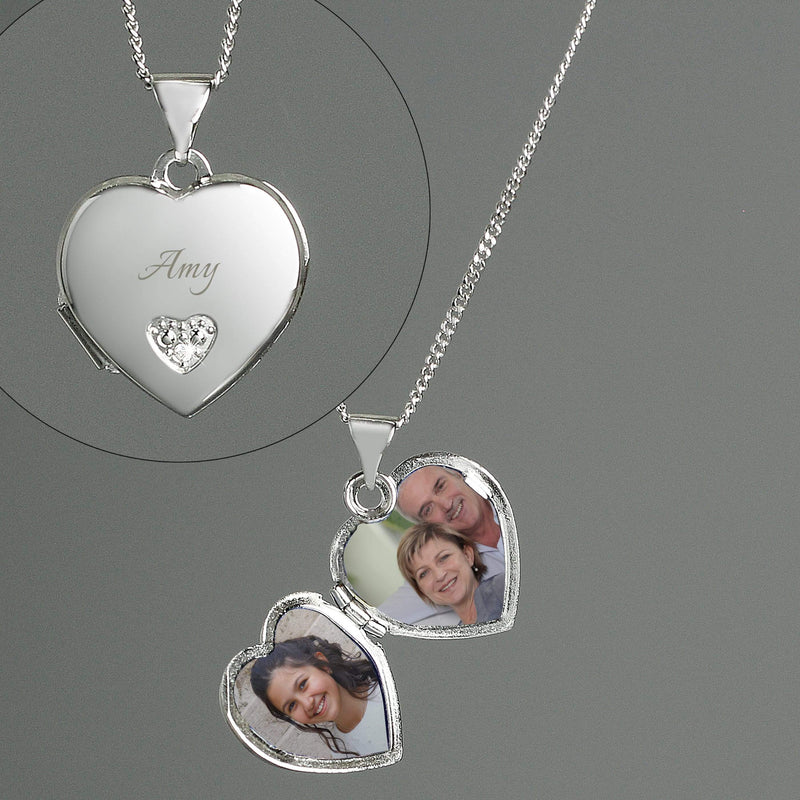 Personalised Children's Sterling Silver & Cubic Zirconia Heart Locket Necklace - The Personal Shop