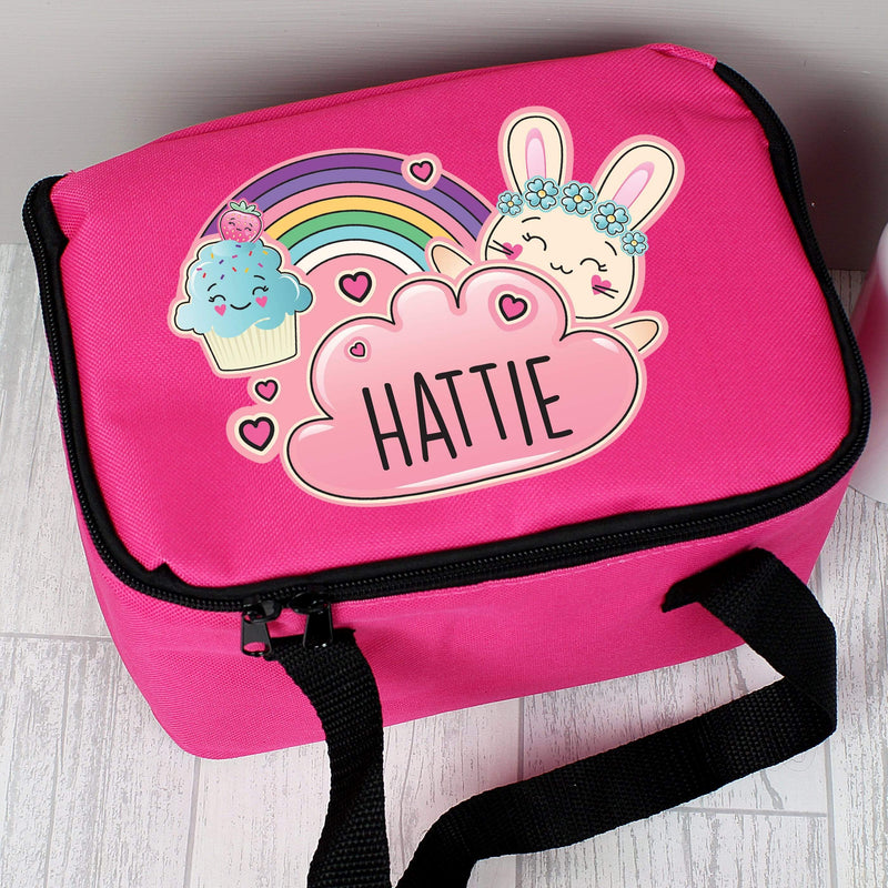 Personalised Cute Bunny Pink Lunch Bag - The Personal Shop