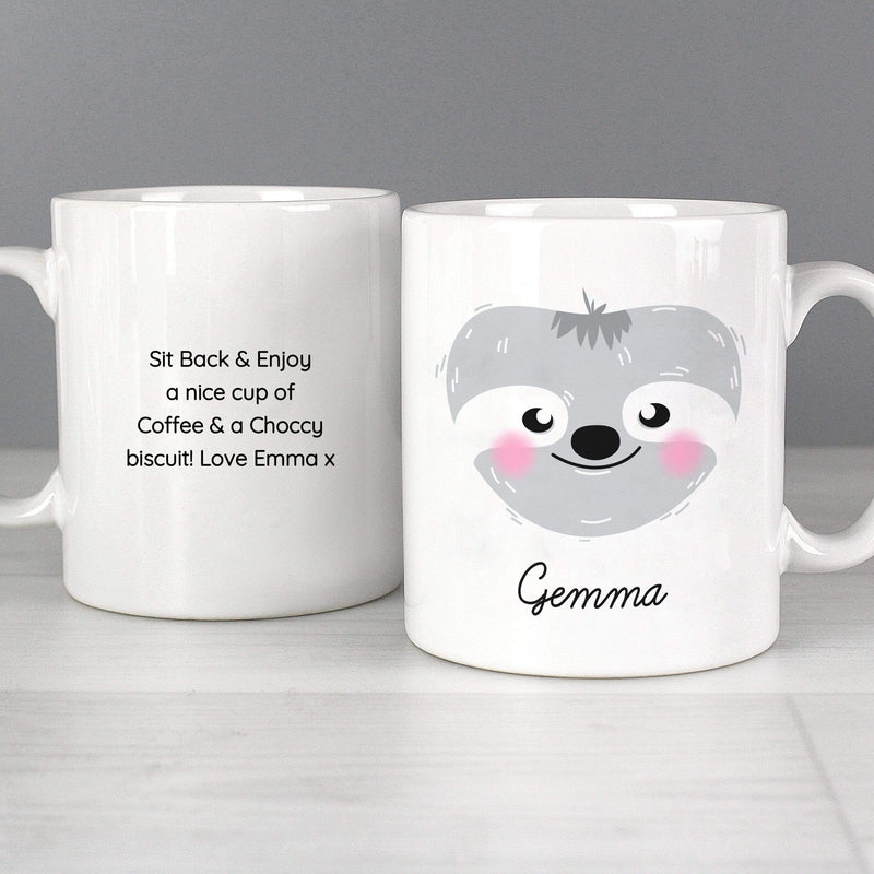 Personalised Cute Sloth Face Mug - The Personal Shop