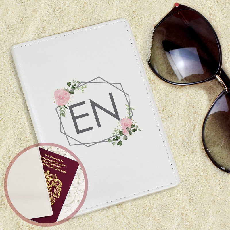 Personalised Floral Cream Passport Holder - The Personal Shop