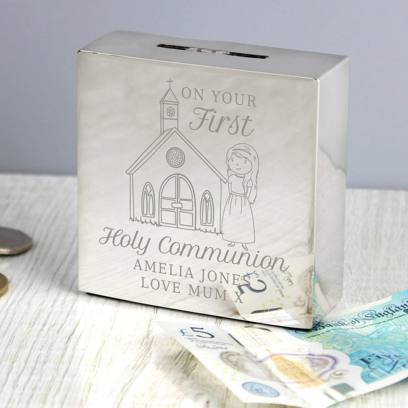 Personalised Girls First Holy Communion Square Money Box - The Personal Shop