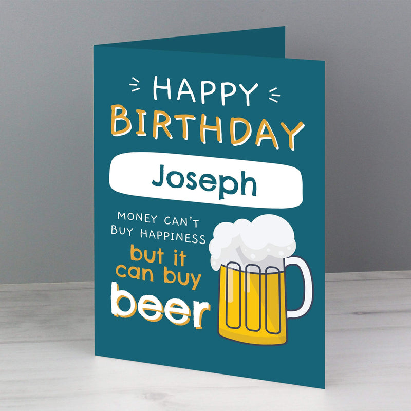 Personalised Happy Birthday Beer Card - The Personal Shop
