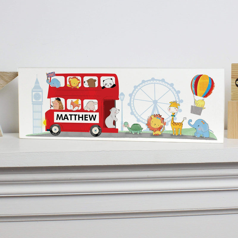 Personalised London Animal Bus Wooden Block Sign - The Personal Shop