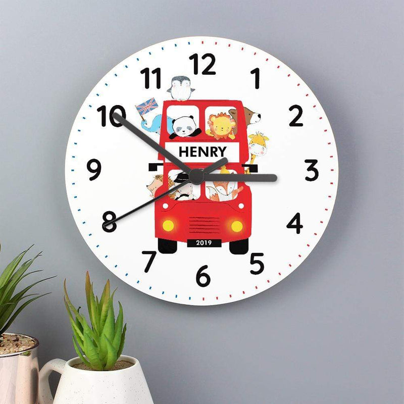 Personalised London Animal Bus Wooden Clock - The Personal Shop