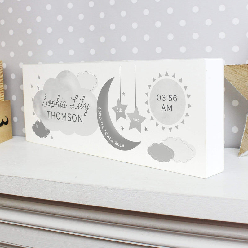 Personalised New Baby Moon & Stars Wooden Block Nursery Sign - The Personal Shop