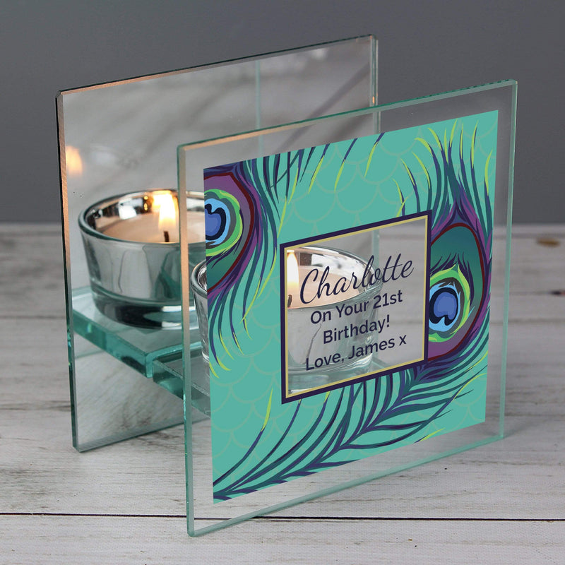 Personalised Peacock Mirrored Glass Tea Light Candle Holder - The Personal Shop