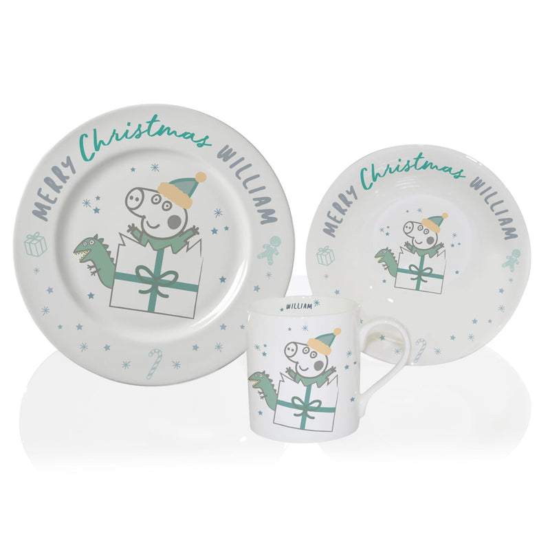 Personalised Peppa Pig™ George Pig Christmas Breakfast Set - The Personal Shop