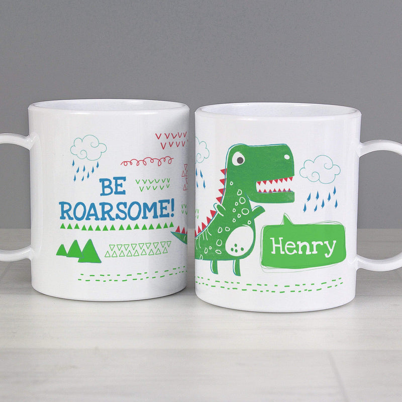 Personalised Be Roarsome Dinosaur Plastic Mug - The Personal Shop