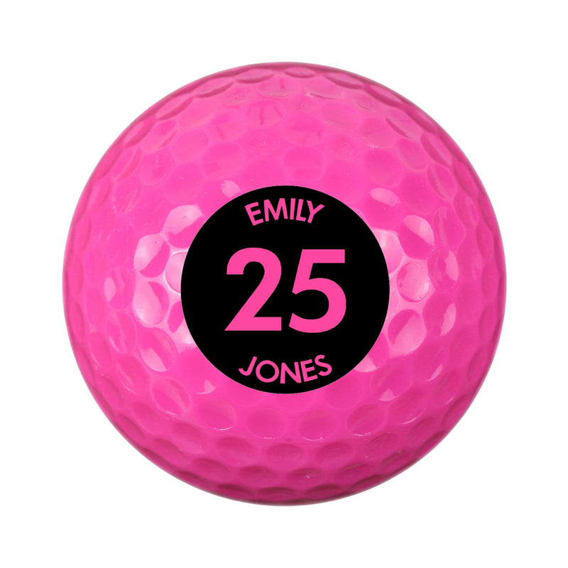 Personalised Big Age Pink Golf Ball - The Personal Shop