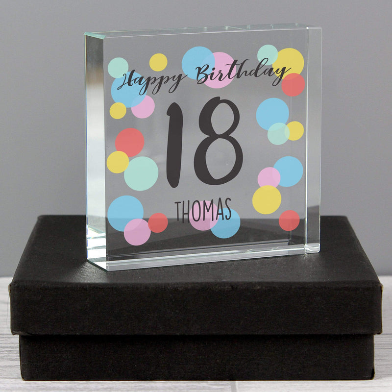 Personalised Birthday Colour Confetti Large Crystal Token - The Personal Shop
