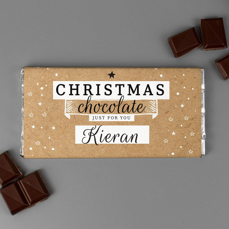 Personalised Christmas Milk Chocolate Bar - The Personal Shop
