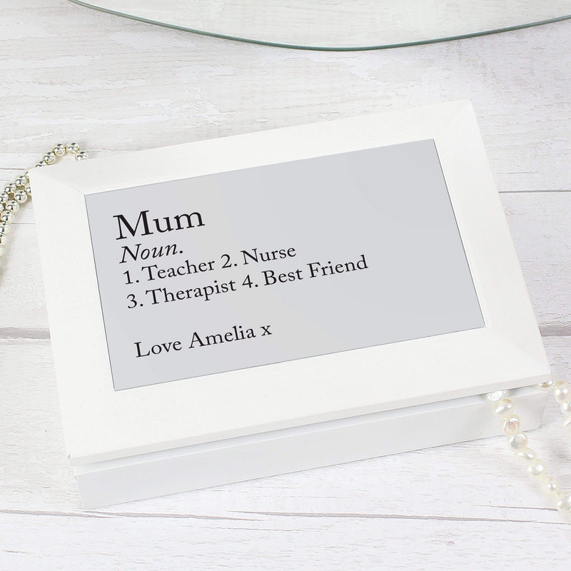 Personalised Definition White Wooden Jewellery Box - The Personal Shop