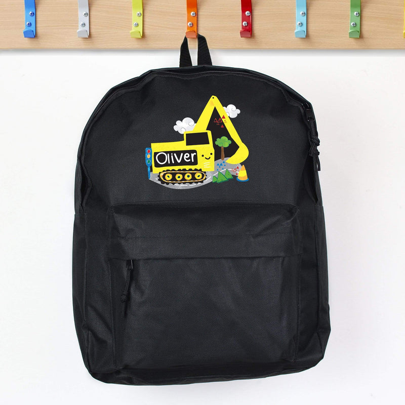 Personalised Digger Black Backpack - The Personal Shop