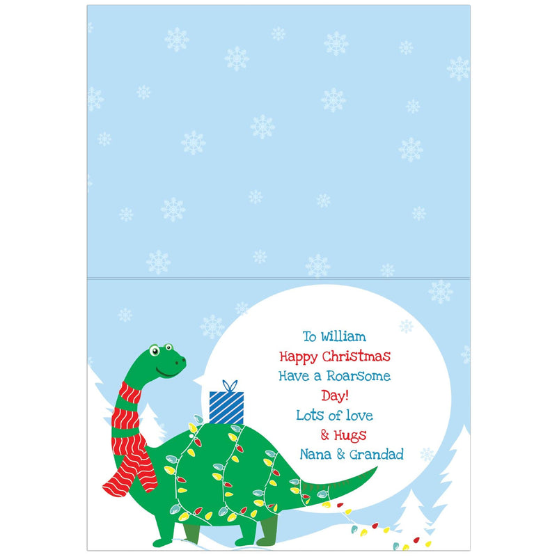 Personalised Dinosaur 'Have a Roarsome Christmas' Card - The Personal Shop