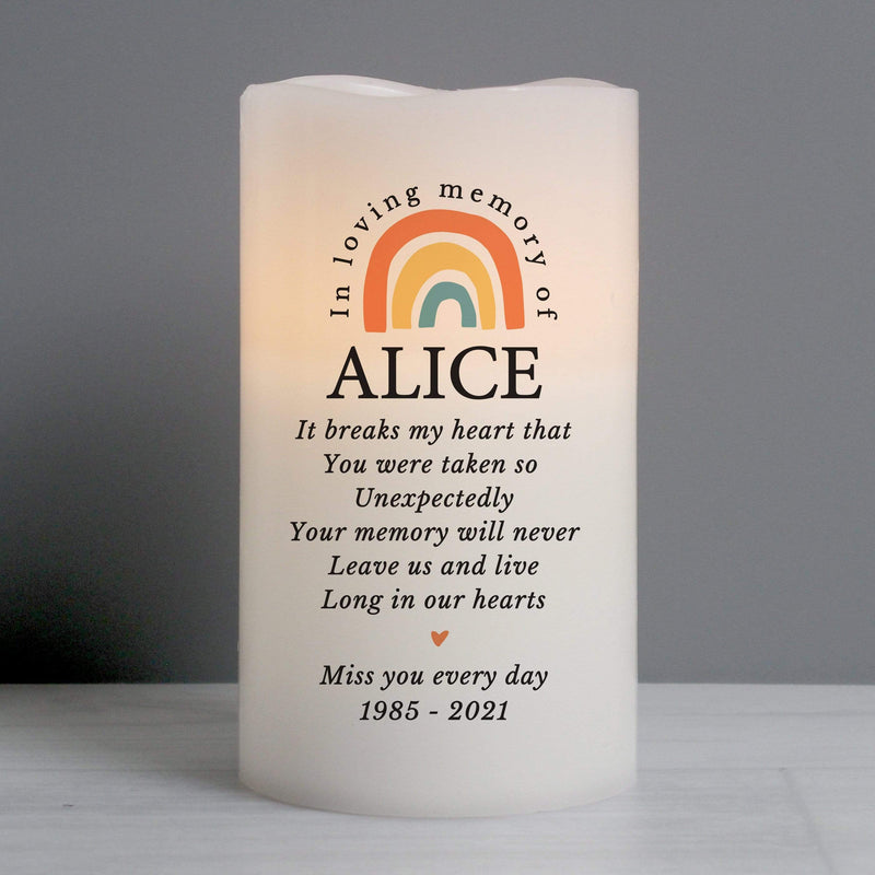 Personalised In Loving Memory Rainbow LED candle - The Personal Shop