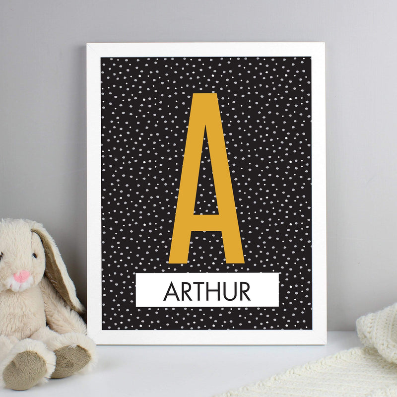 Personalised Initial White Framed Print - The Personal Shop