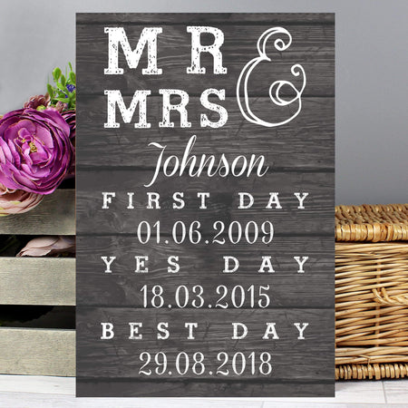 Personalised Mr & Mrs, First Day, Yes Day & Best Day Metal Sign - The Personal Shop