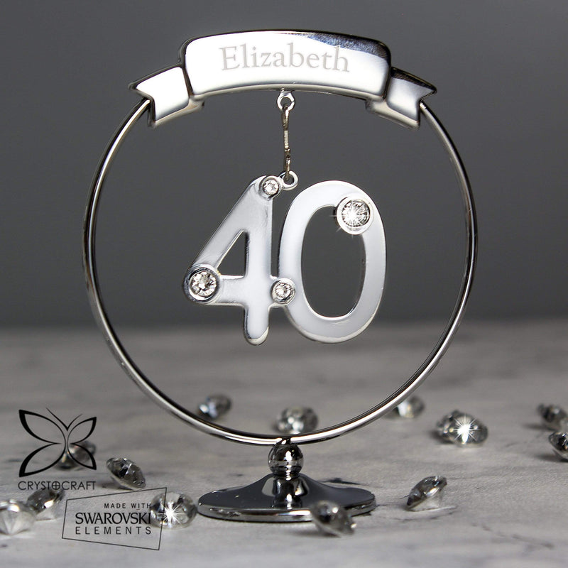 Personalised Name Only Crystocraft 40th Celebration Ornament - The Personal Shop