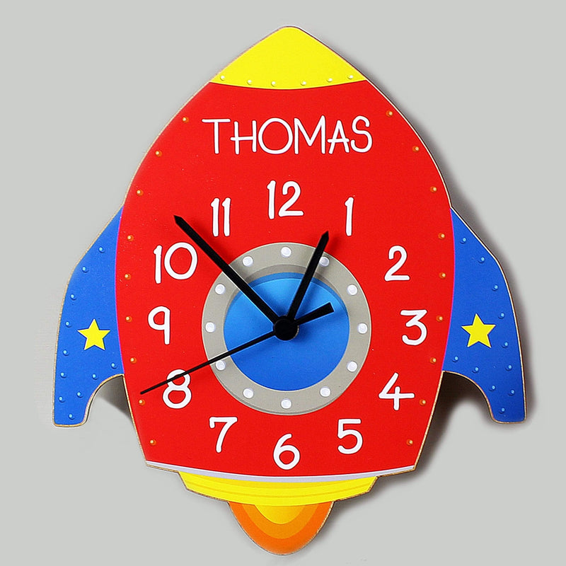 Personalised Rocket Shape Wooden Clock - The Personal Shop