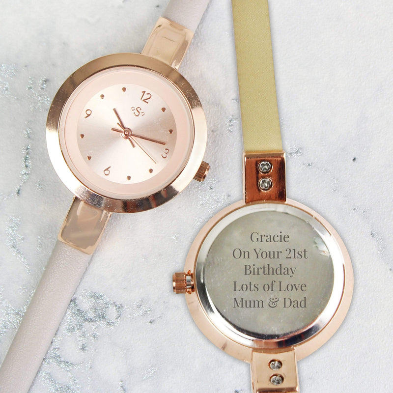 Personalised Rose Gold with Faux Leather Strap Ladies Watch - The Personal Shop