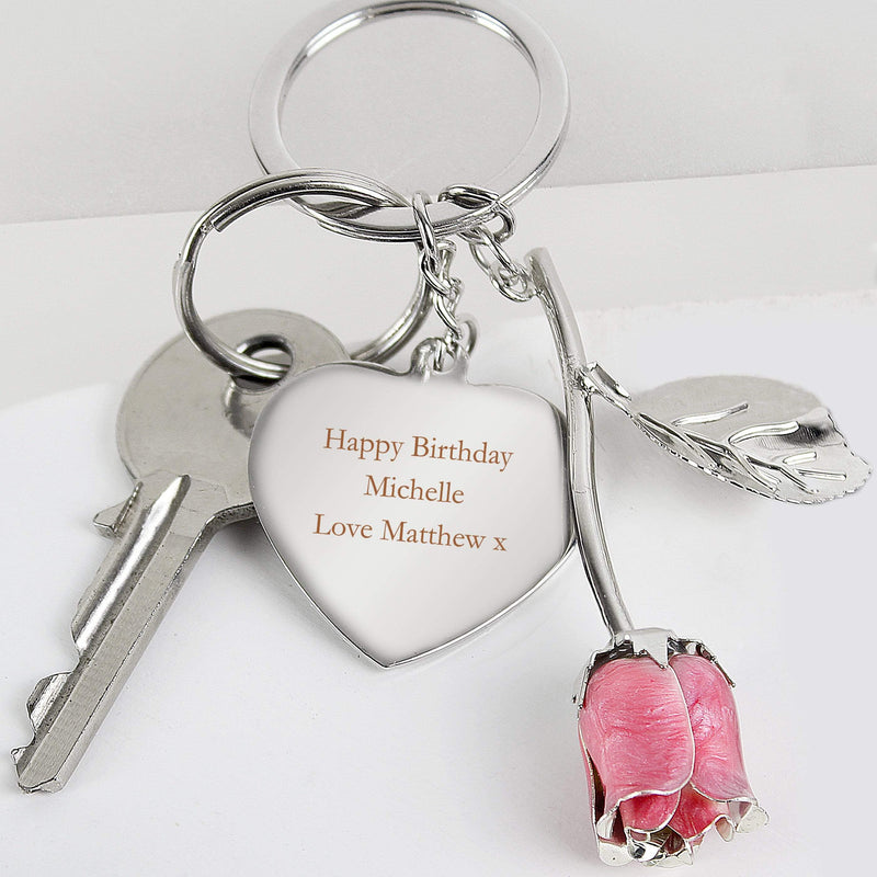 Personalised Silver Plated Pink Rose Keyring - The Personal Shop
