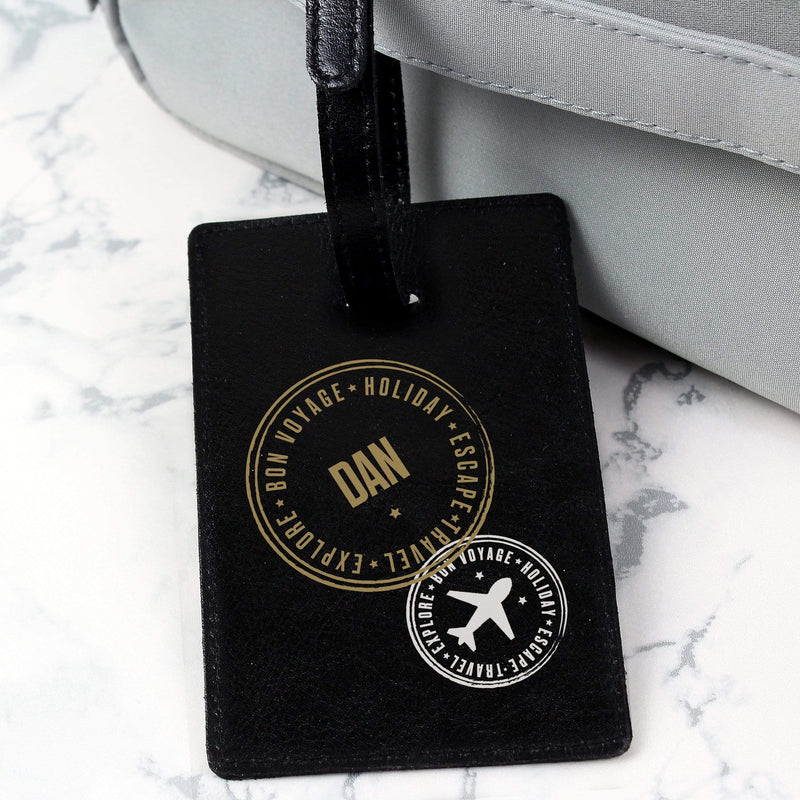 Personalised Stamped Black Luggage Tag - The Personal Shop