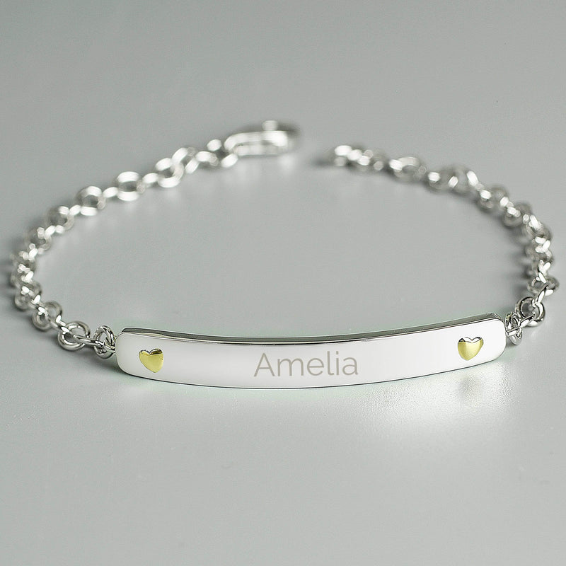Personalised Sterling Silver and 9ct Gold Bar Bracelet - The Personal Shop