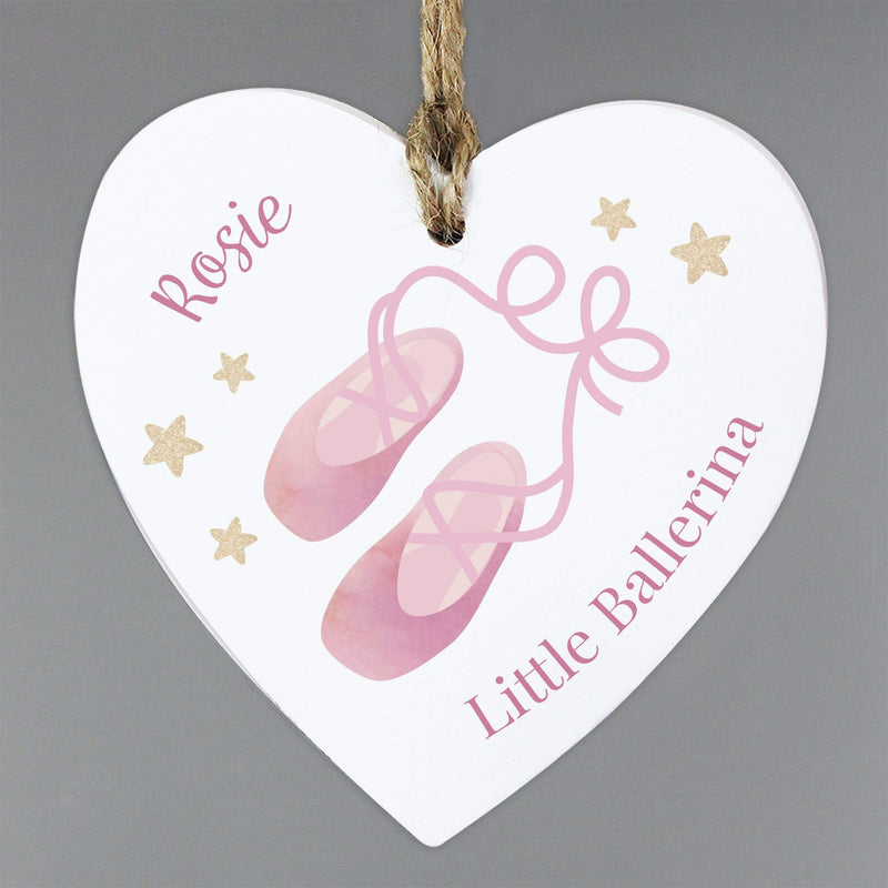 Personalised Swan Lake Ballet Wooden Heart Decoration - The Personal Shop