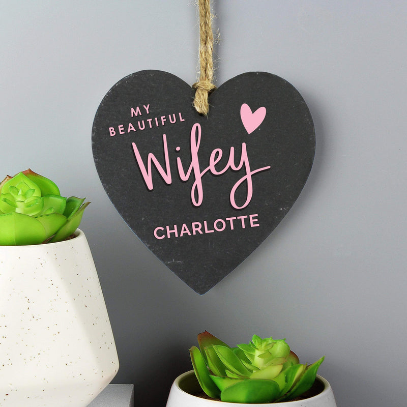 Personalised Wifey Slate Heart Decoration - The Personal Shop