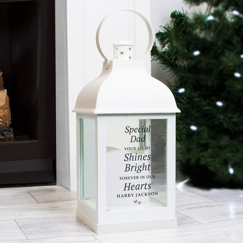 Personalised 'Your Light Shines Bright' White Lantern - The Personal Shop