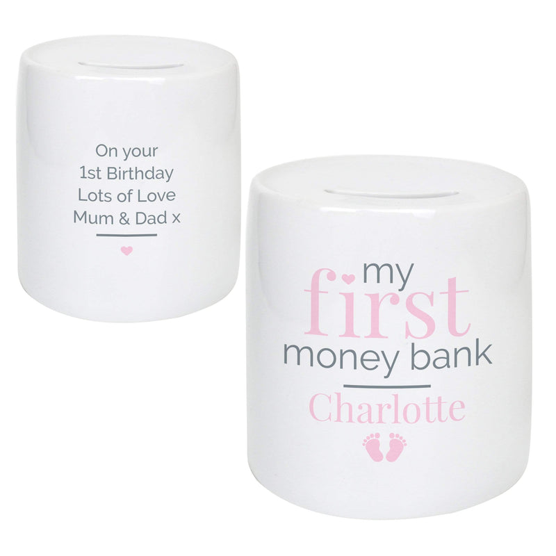 Personalised Pink My First Ceramic Money Box - The Personal Shop