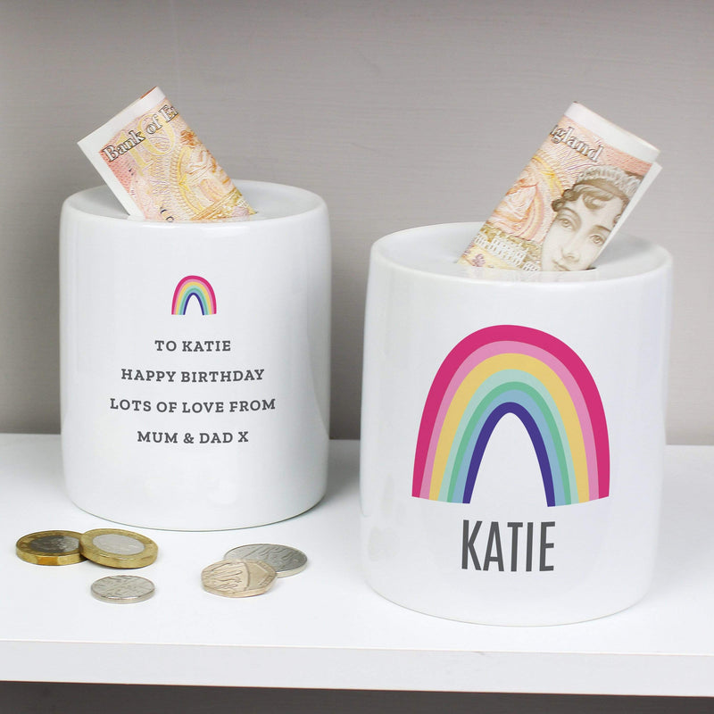 Personalised Rainbow Ceramic Money Box - The Personal Shop