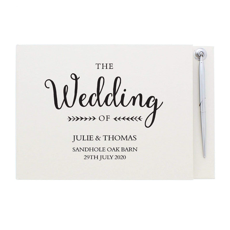 Personalised Rustic Wedding Hardback Guest Book & Pen - The Personal Shop
