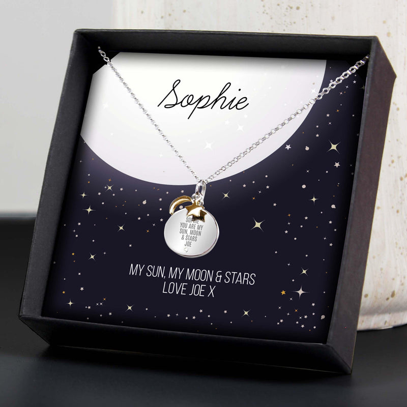 Personalised Sentiment Moon & Stars Sterling Silver Necklace and Box - The Personal Shop